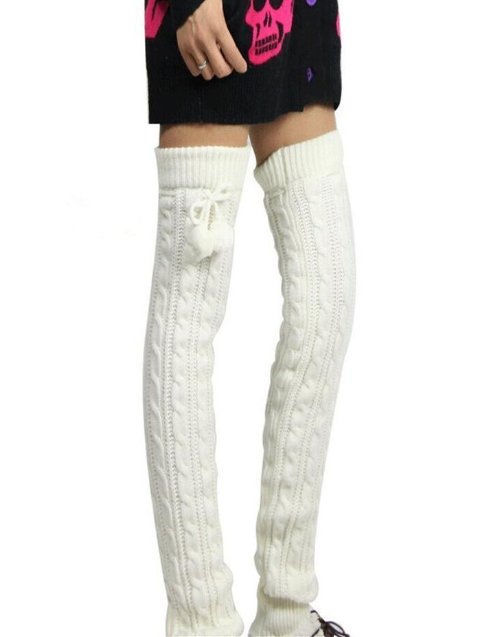 Knitting Solid Color Over Knee-high Stocking