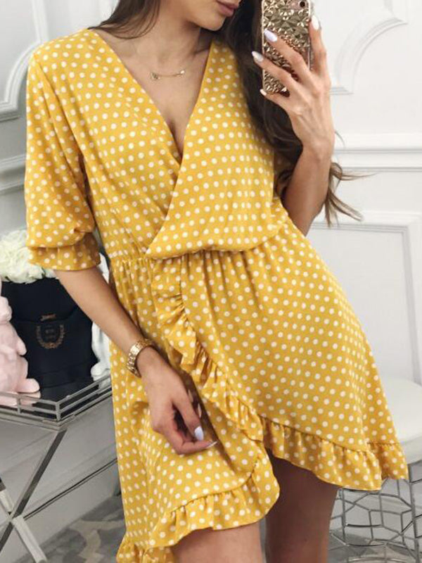 Fashion Ruffled Polka-Dot V-neck Mini Dresses