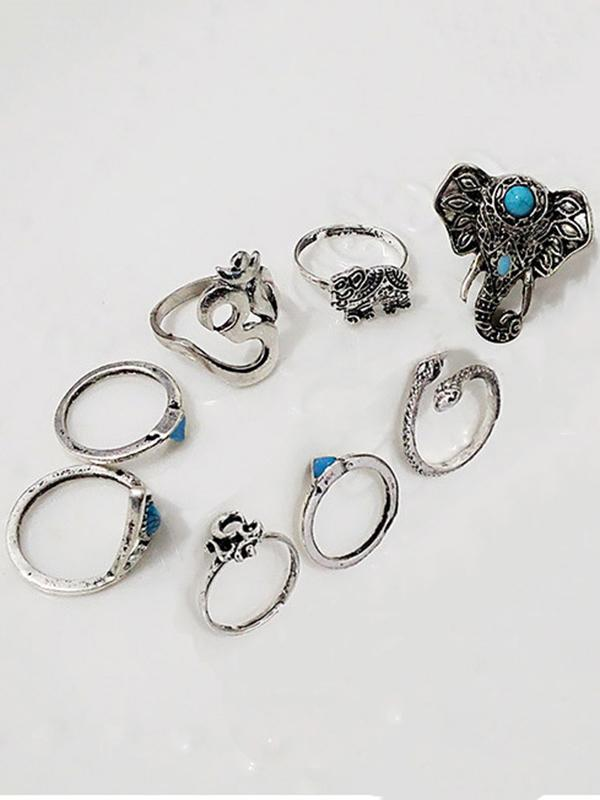 8PCS Vintage Silver Plated Rhinestone Rings Accessories