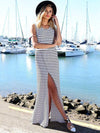 Striped Backless Jumper Maxi Dress