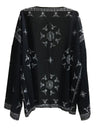 Beautiful Black Long Sleeve Printed Shawl Cover-up Tops