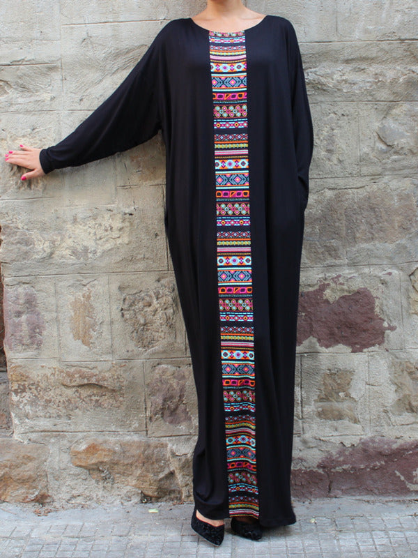 Pretty Black Bohemia Long Sleeve Round Neck Lose Maxi Dress