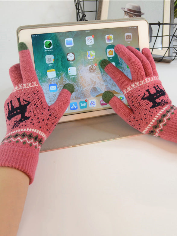 Christmas Fawn Touch Screen Gloves