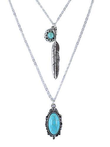 Vintage Flower&Leaf Alloy Turquoise Necklaces Accessories