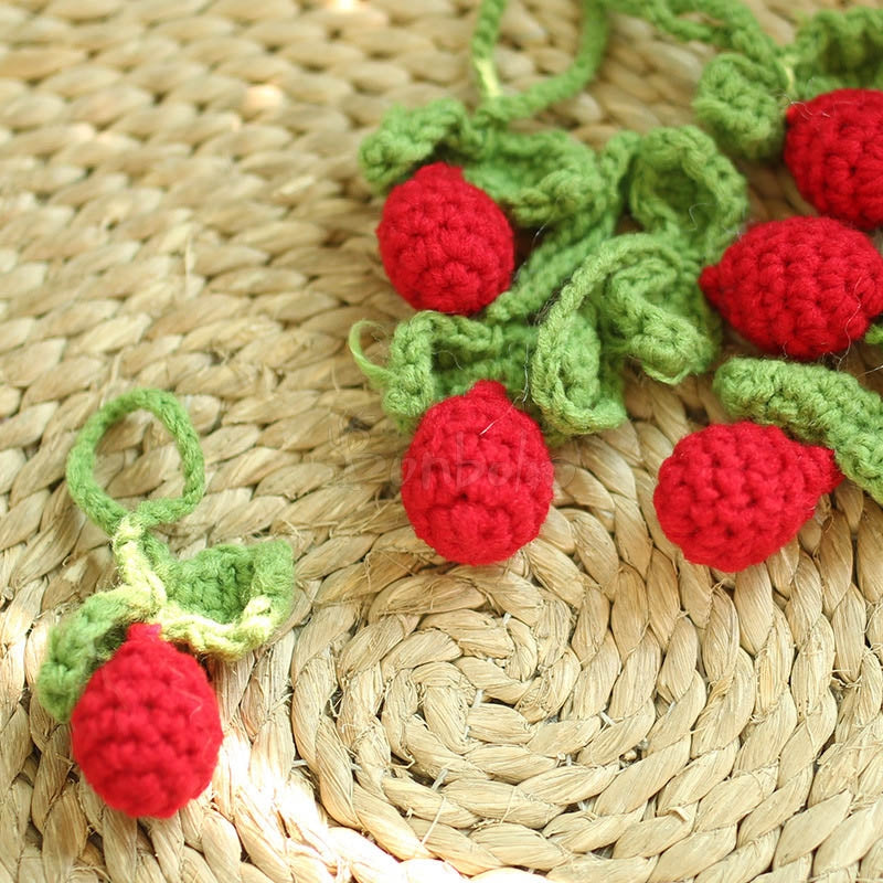 Hand Crocheted Strawberry Wool Ornaments