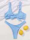 Plaid-Print Knotted Split Bikini Swimsuit