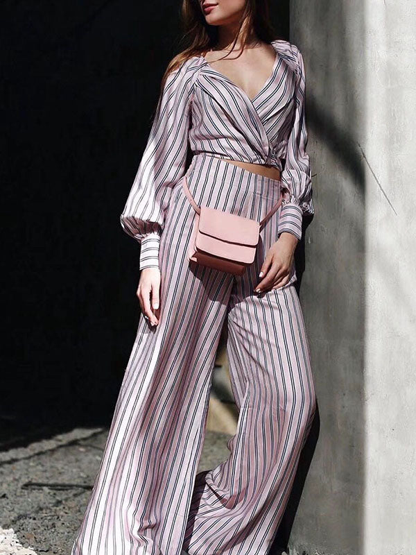 Fashion V-Neck Striped Puff Sleeves T-shirt And Wide Leg Pants Suits