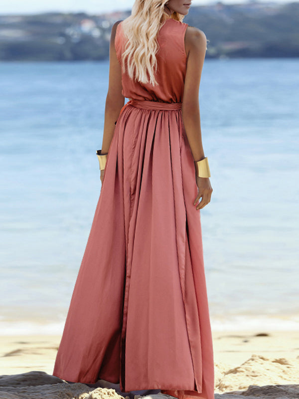 5cd4ffb78e Sleeveless Belted V-neck Maxi Dress – bonboho