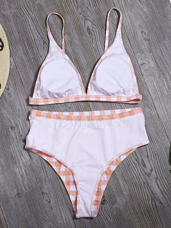 Plaid-Print Deep V-Neck Split Bikini Swimsuit