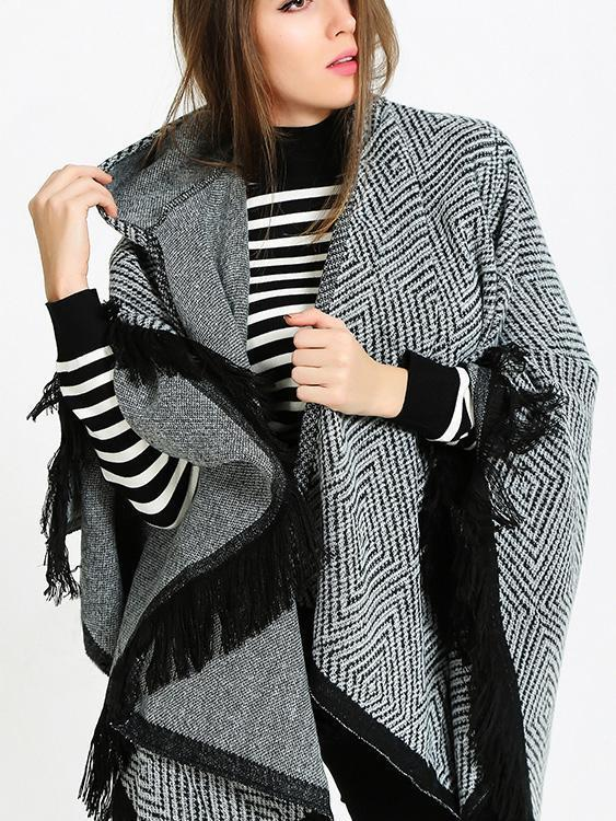 Fashion Asymmetric Tassels With Hat Cape Tops