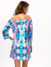 Fashion Floral Bohemia Off Shoulder Long Trumpet Sleeve Bodycon Mini Dress