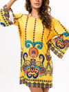 Printed V-neck Maxi Kaftans Dress