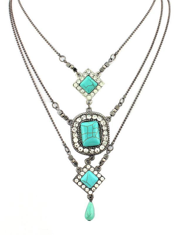 Multilayer Square Pattern Turquoise Necklaces Accessories