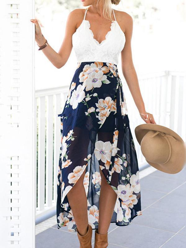 Floral Printed Chiffon And Lace Straps Deep V Neck Midi Dress