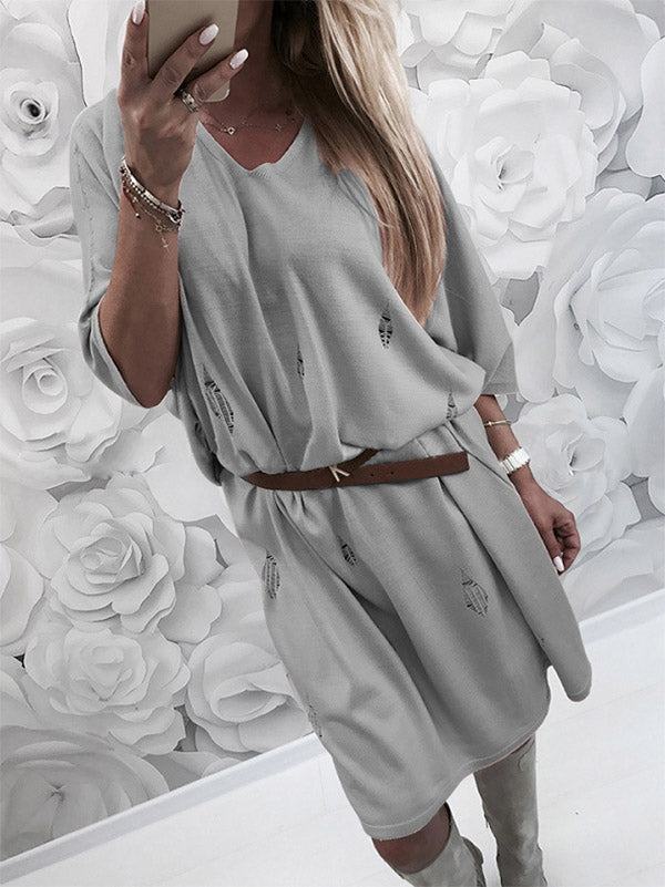 Loose Half Sleeves Midi Dresses