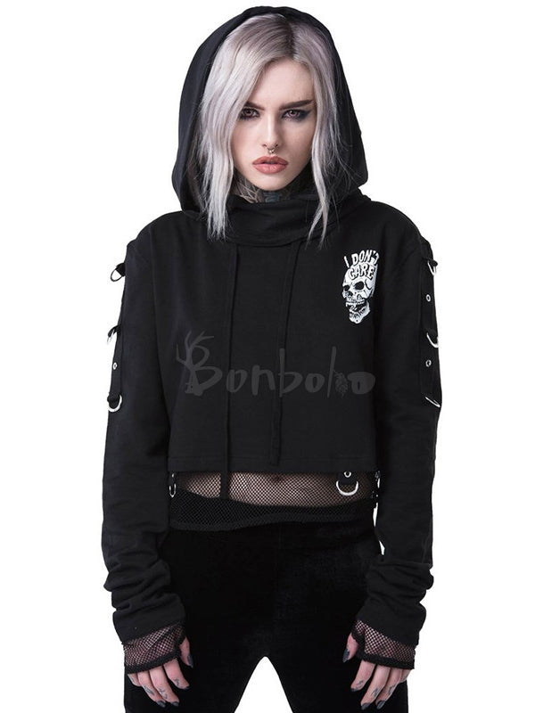 Fake Two-piece Splicing Mesh Skeleton Print Hoodie