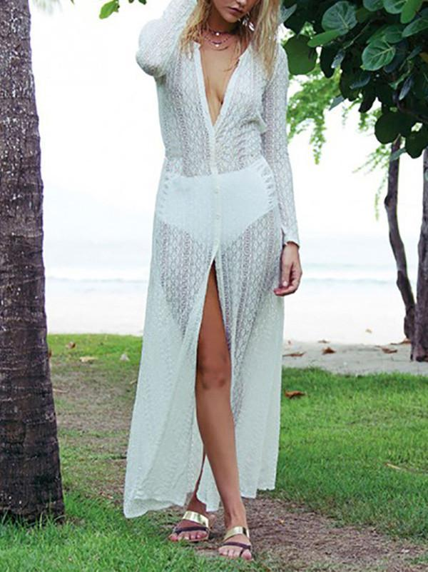 Sexy Hollow Lace Long Sleeve Maxi Beach Dress Cover-up