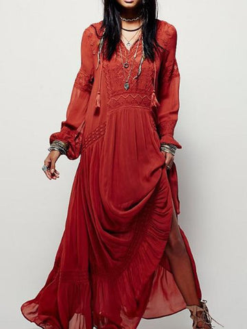 Elegant Solid Color Long Sleeve Round Neck Loose Maxi Dress