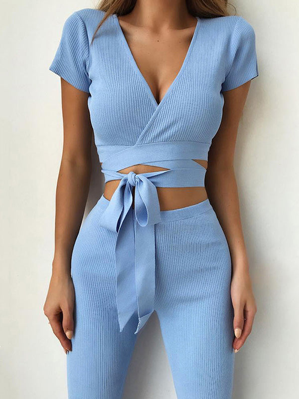 V-neck Solid Bandage Sexy Suits