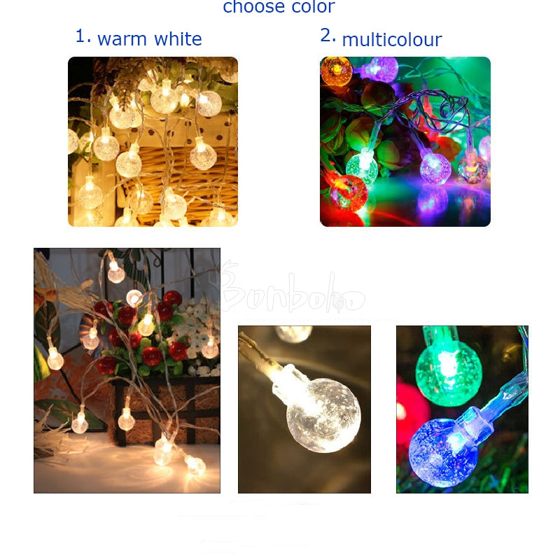 String Light LED Crystal Ball Waterproof Fairy Lighting for Garden Home Landscape Holiday Decoration