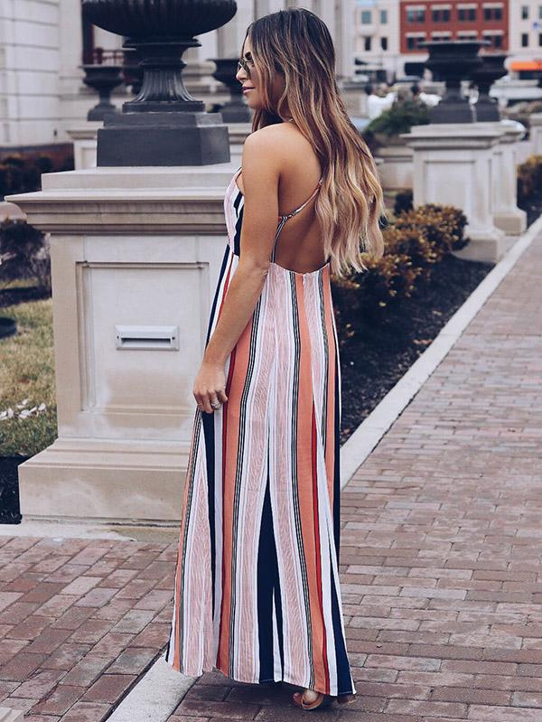 Halterneck Striped Backless Waisted Maxi Dress