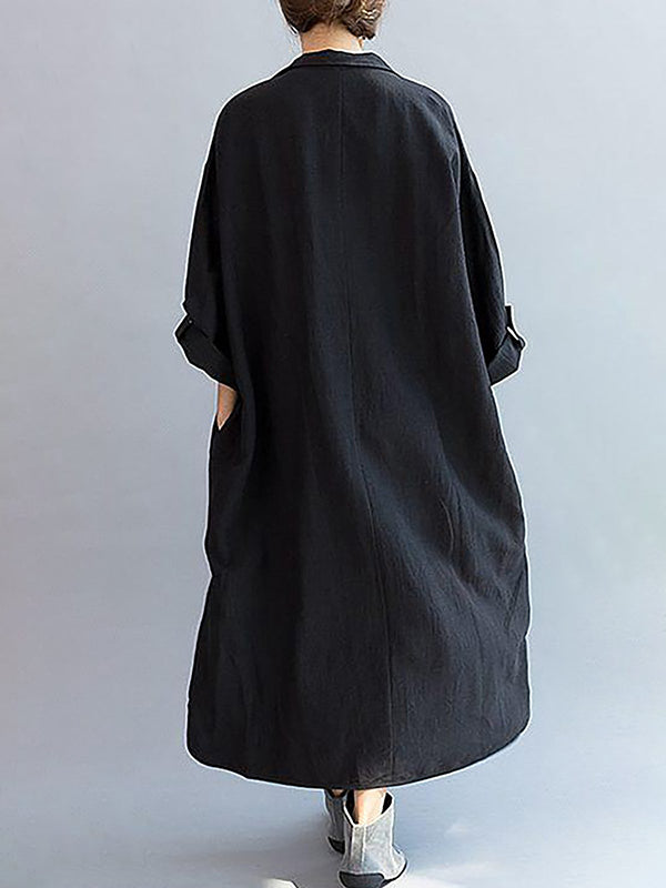 Loose Cotton Black Lapel Split-side Long Dress