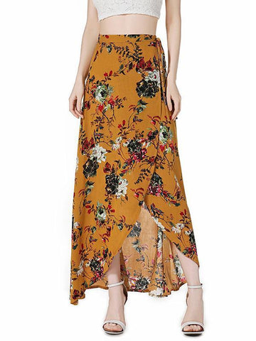 Floral Printed Belted Falbala Skirt Bottoms