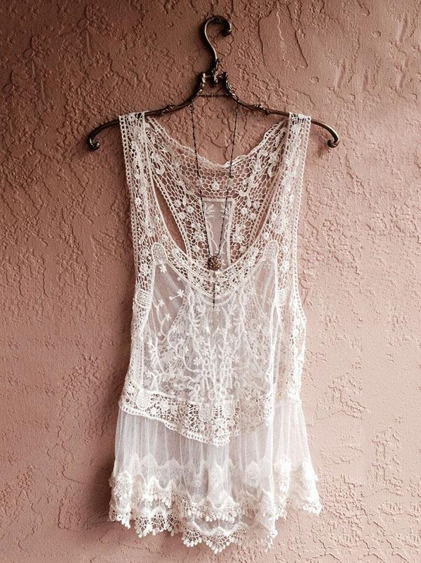 Lace Hollow Cover-up Top