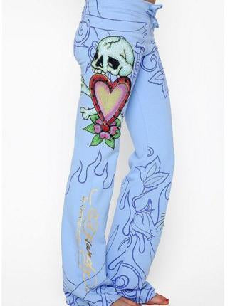 Rose Skull Pattern Hem Wide Leg Bottom Casual Pants