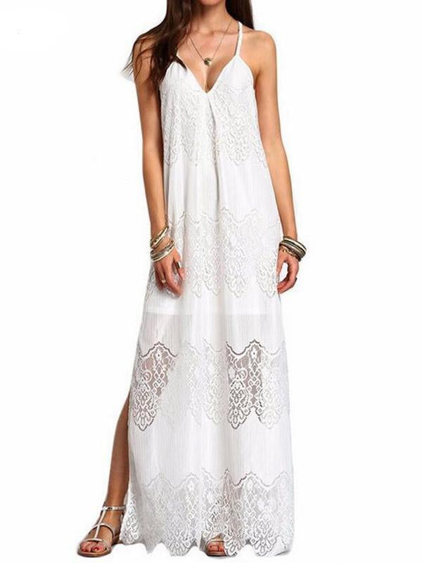 Lace Split-joint Condole Belted Maxi Dress