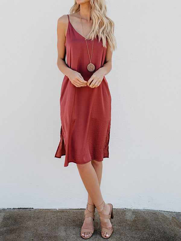 Solid Color Spaghetti-neck Midi Dress