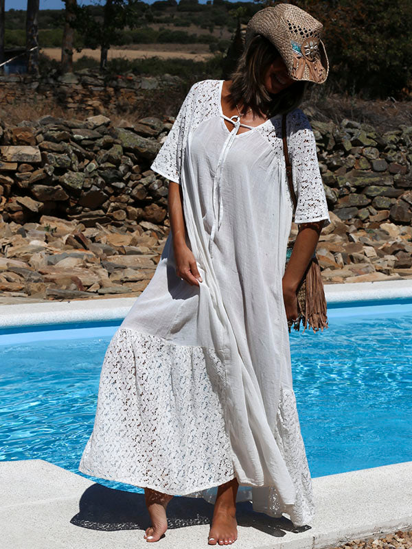 fe72e5de4dbb White Hollow Split-joint Maxi Dress