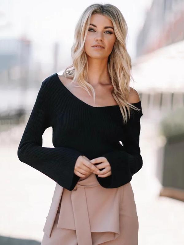 Knitting Off-the-shoulder Long Flare Sleeves Sweater Tops