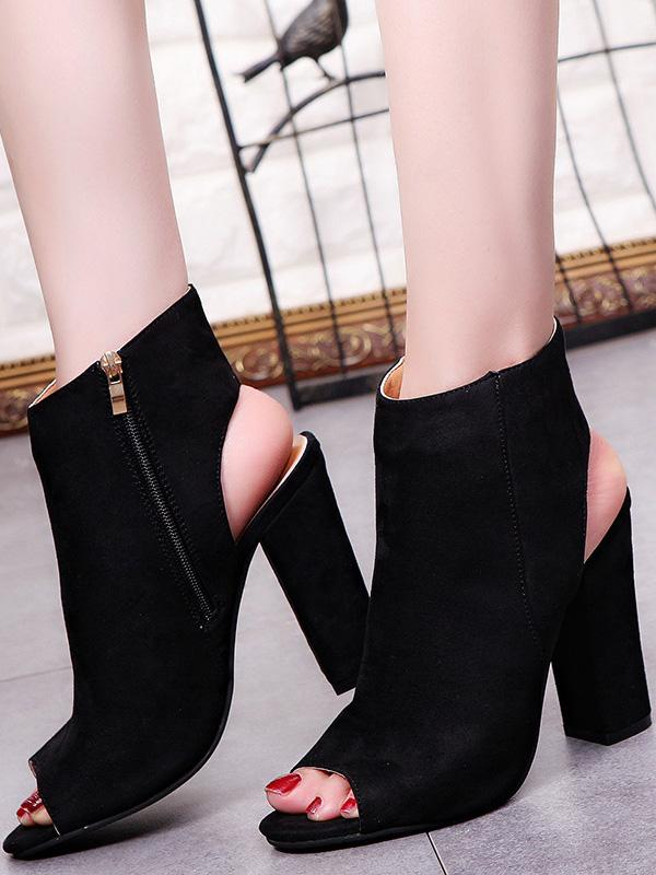 Zipper Chunky Heels Shoes