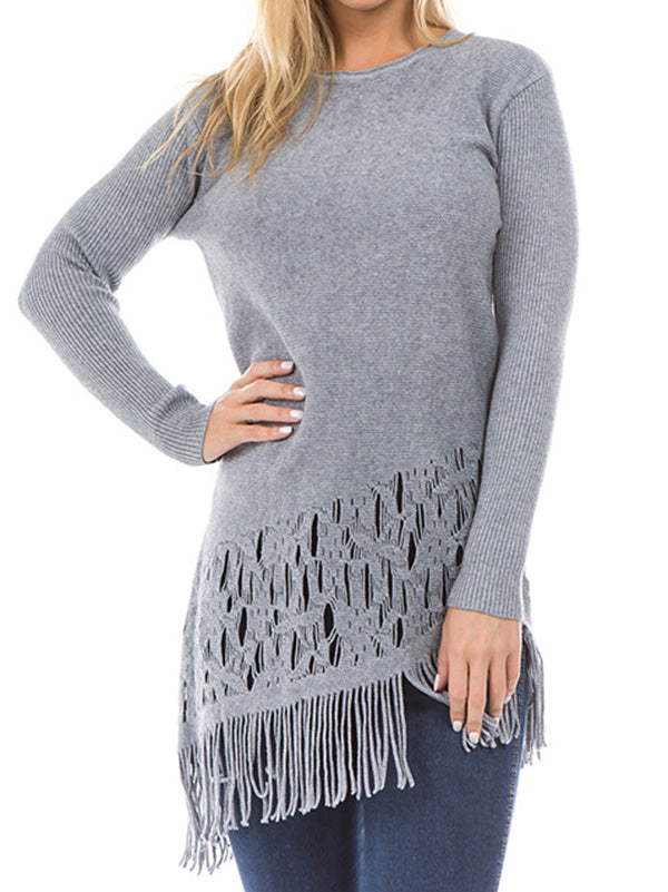 Tasseled Long Sleeves Knitting Sweater Tops