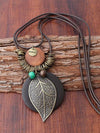Vintage Paraffined Rope Leaf Necklaces Accessories
