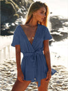 4 Colors Deep V-Neck Bandage Romper