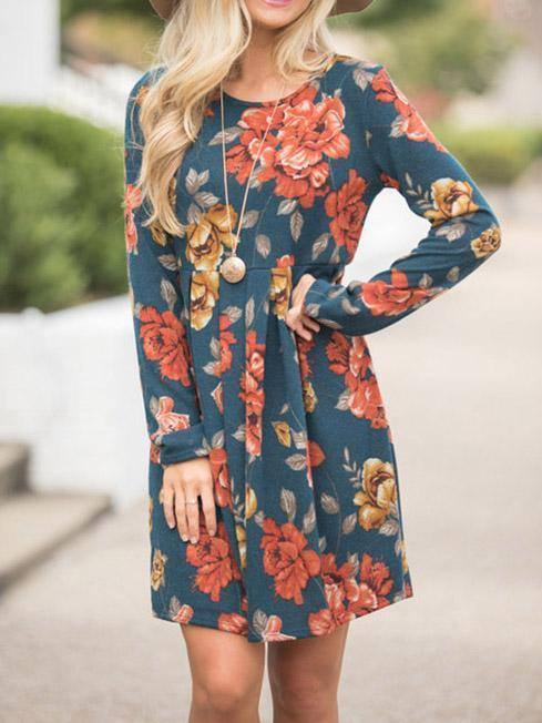 Pretty Floral Long Sleeves Mini Dress