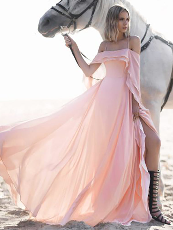 Solid Color Spaghetti-neck Off-the-shoulder Maxi Dress
