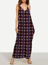 Classical Black Plaid Bohemia Spaghetti Straps V Neck Maxi Dress