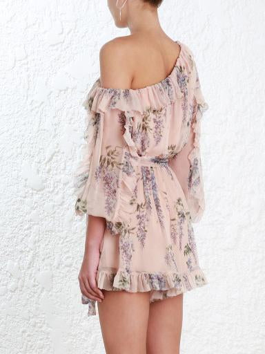 Bohemia Falbala Sloping Shoulder Long Sleeves Romper
