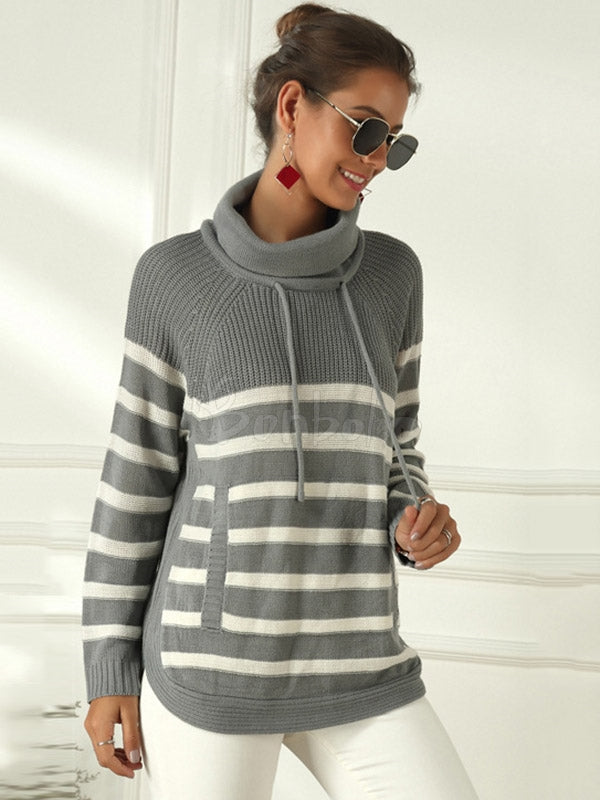 Striped Turtleneck Knit Sweater
