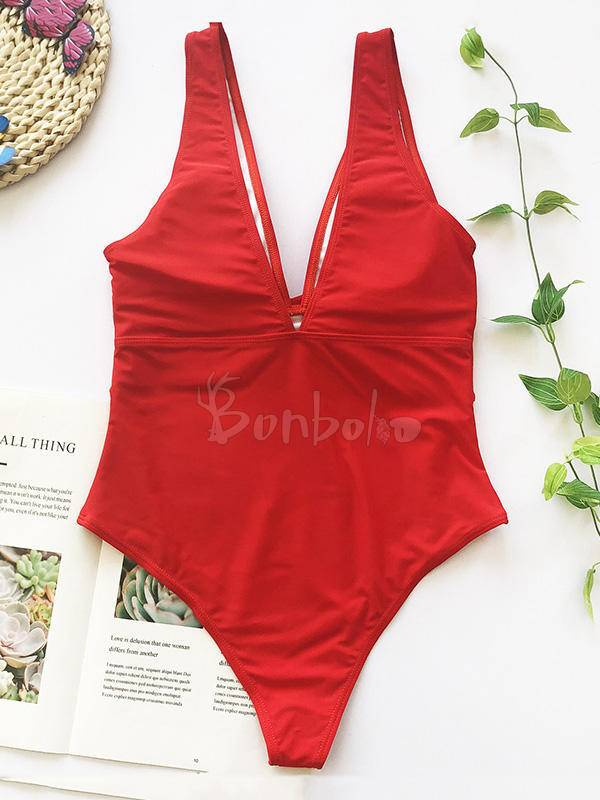Solid Color Belted One-Piece Swimwear