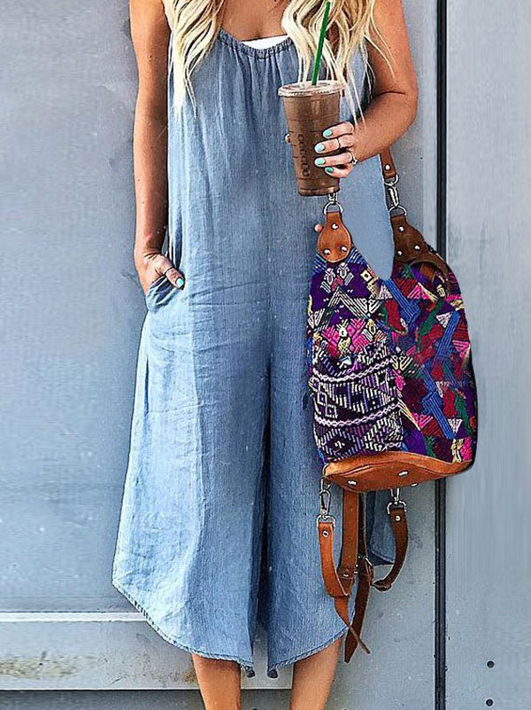 Solid Spaghetti-neck Wide Leg Jumpsuits
