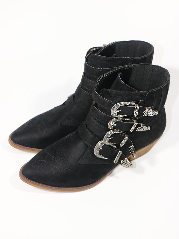 Vintage Buckle Embossed Booties