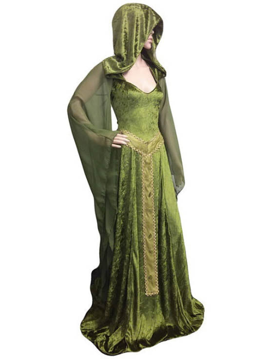 Vintage Green Hooded Maxi Dresses
