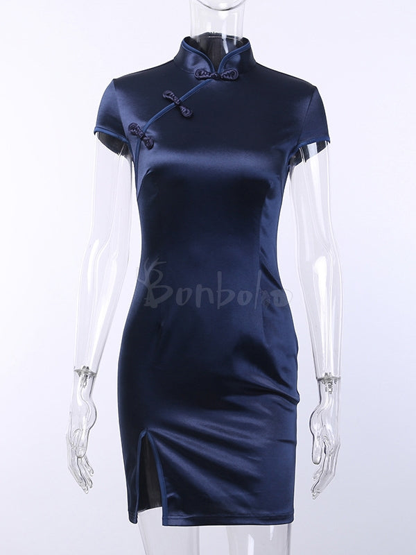 Slim Fit Split-side Short Cheongsam Dress