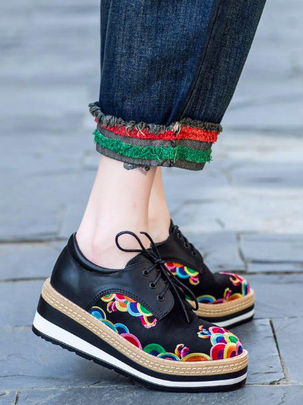 Floral Embroidered Leather Platform Shoes