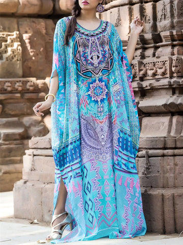 Printed Tasseled Split-front Maxi Dress