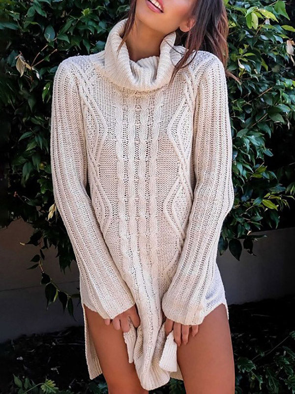 High-neck Long Sleeves 2 Colors Sweater Tops